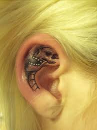 collection of 25 lovely black tattoos on backside of ear