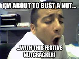 Bust A Nut Meme - i m about to bust a nut with this festive nutcracker o