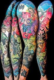 colorful geek tattoo on full sleeve