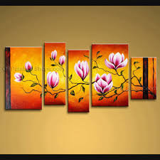 Oversized Wall Art by Large Wall Art Modern Abstract Painting Tulip Flower 5 Panels Framed