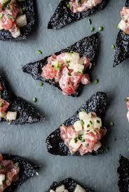 tuna tartare with nori chips a beautiful plate