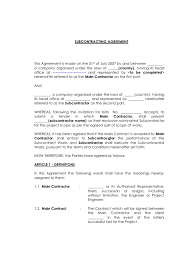 subcontractor contract agreement template bni complete forms and