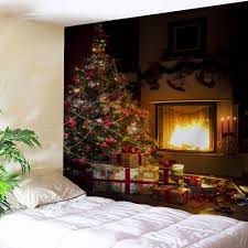 christmas tree fireplace printed wall tapestry brown w inch l