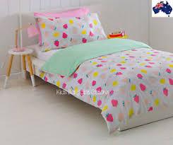 King Single Bed Linen - au qty strawberry polka dot rvrsble double king single bed doona