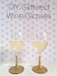 diy glittered wine glasses