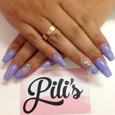 periwinkle swarovski freehand nail art on coffin acrylic nail