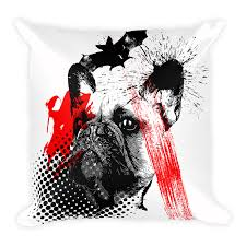 frenchie bat trash polka tattoo style decorative pillow home decor