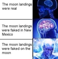 Brain Meme - moon landings expanding brain know your meme