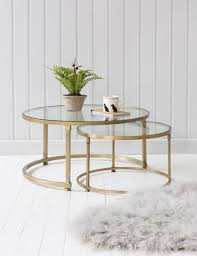 Coffee Table Stacking Round Glass Coffee Table Set Brass   coco nesting round glass coffee tables round glass coffee table