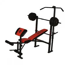 marcy wm203 bench with 36kg vinyl barbell set at powerhouse