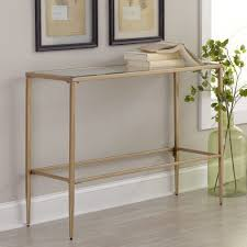 furniture narrow gold half moon console table with drawers of