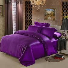 Black And Purple Comforter Sets Queen 25 Mm Seamless Heavy Silk Satin 4pcs Bedding Set 100 Mulberry