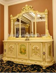 luxury french rococo style white wood carving buffet table palace