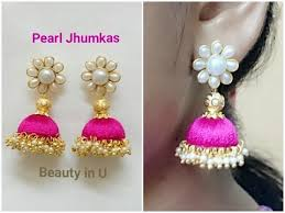 easy earrings easy and simple pearl silk thread earrings tutorial top