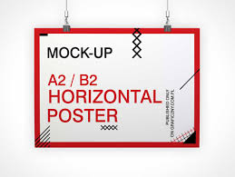 horizontal poster psd mockup with binder clips psd mockups