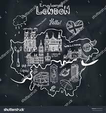 vector london map landmarkletteringhand drawn doodle stock vector