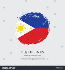 Flag Philippines Picture Flag Philippines Brush Stroke Background Stock Vector 583219786
