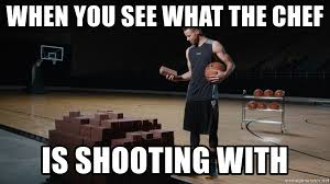 Chef Meme Generator - when you see what the chef is shooting with curry bricks meme