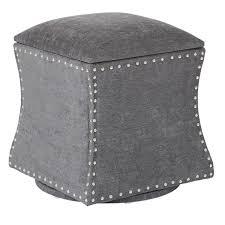 Grey Fabric Storage Ottoman Ave Six St Swivel Fabric Storage Ottoman With Nailheads