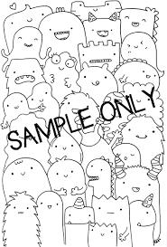 printable coloring page wall art doodle kawaii