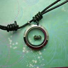 charm leather necklace images Stainless steel locket pendant on black leather necklace with jpg