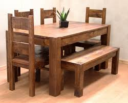 Rustic Dining Tables With Benches Wooden Kitchen Tables With Benches Roselawnlutheran