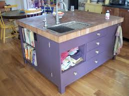 chic purple finished square kitchen island with sink and drawers