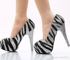 wedding shoes size 9 black and white zebra diamond wedding shoe ultra high with