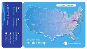 Us Airways Route Map by Airline Memorabilia Independence Air 2005