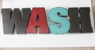 7 wash letters small initial laundry room home decor
