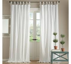 How To Hang Pottery Barn Curtains Textured Cotton Tie Top Drape Pottery Barn