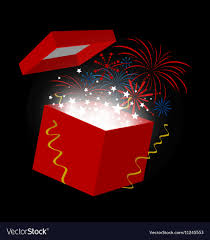 new year box new year gift box on black background royalty free vector