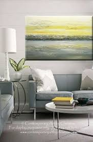 Contemporary Art Home Decor Yellow U0026 Grey Art Abstract Paintings Sophisticated Stunning
