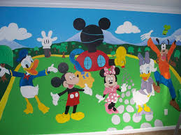 minnie mouse hand painted wall mural www custommurals co uk baby hand painted mickey mouse clubhouse wall mural