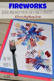 All Kids Crafts - fireworks made with a fork and craft paint quick and easy craft
