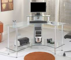 Glass Corner Desks Office Glass Office Desk Ideas Using Transparent Corner Computer