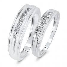 matching wedding band sets t w diamond matching wedding band set 10k white gold my trio
