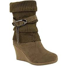 ladies brown biker boots ladies womens mid high wedge heel knitted warm winter slouch biker