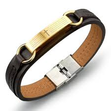 leather bracelet with gold images Tengyi vintage genuine pu leather bracelet men anchor cross bible jpg