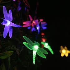 Outdoor Fairy Lights Solar by Lights4fun 30 Multi Coloured Led Dragonfly Solar Garden Fairy Lights