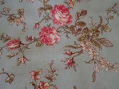 pair lined vintage pastel floral curtains roses green pink shabby