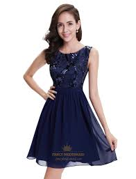 navy blue dress navy blue chiffon sleeveless cocktail dress with sequin top