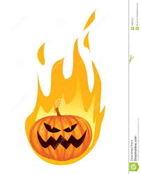 burning in fire jack o lantern halloween pumpkin stock vector