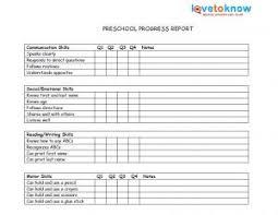 preschool report card template printable preschool progress reports school days