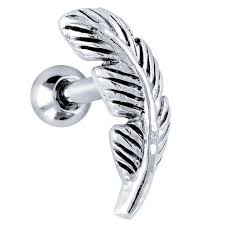 earring stud freshtrends feather 925 sterling silver cartilage piercing