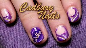 cadbury inspired nail art tutorial short nails youtube