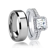 cheap wedding ring sets for him and wedding rings tungsten wedding ring grey tungsten ring