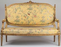 French Settee Loveseat French Louis Xvi Style Carved And Gilded Antique Settee Sofa