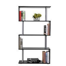 homcom 4 tires wooden bookcase s shape storage display unit home