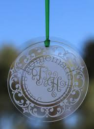etched glass ornaments personalized monogram ornament monogram ornament etched glass ornament